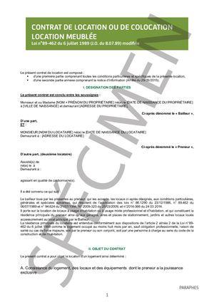 Calam o mod le gratuit contrat de location meubl e - Modele de contrat de location meublee ...