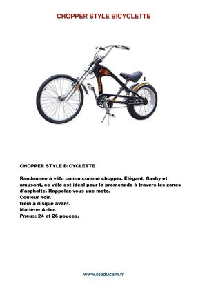 Chopper Style Bicyclette :Www steducam Fr