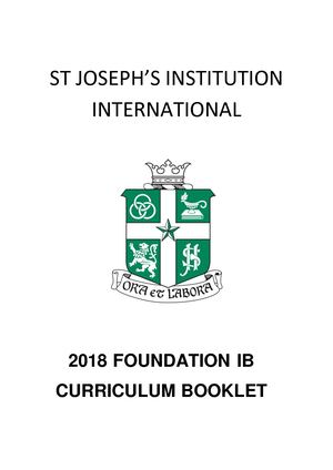 2018 Foundation IB Curriculum Booklet