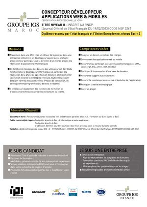CONCEPTEUR DEVELOPPEMENT APPLICATRION WEB MOBILES