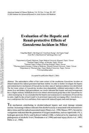 Evaluation Of The Hepatic And Renal Protective Effects Of Ganoderma Lucidum