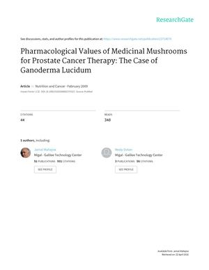 Pharmacological Values Of Medicinal Mushrooms of Medicinal Mushrooms for Prostate Cancer Therapy: The Case of Ganoderma Lucidum