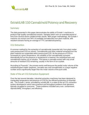 Extrakt Lab 110 Recovery And Potency White Paper Copy Template 2