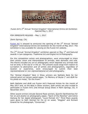 "Fusion Art's 2nd Annual ""Animal Kingdom"" International Online Art Exhibition Opened May 1, 2017"