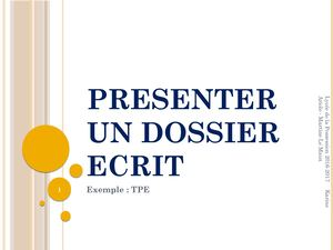 Presenter Un Dossier Ecrit