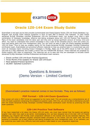 Guide for pdf study 1z0-144