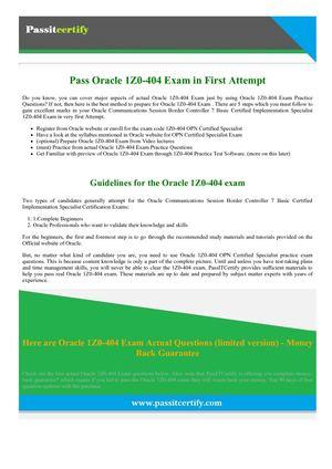 Calaméo - 1Z0-404 Oracle Exam | 1Z0-404 OPN Certified Specialist ...