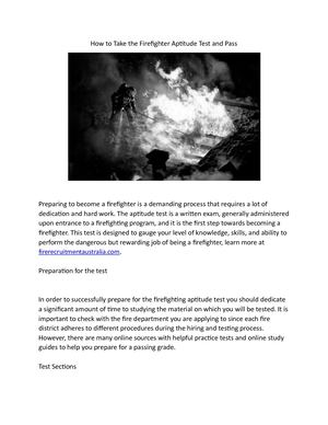 Calaméo - How To Take The Firefighter Aptitude Test And Pass Written By