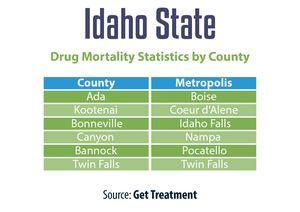 Idaho State Drug Mortality Statistics By County