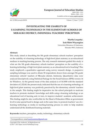 INVESTIGATING THE USABILITY OF  E-LEARNING TECHNOLOGY IN THE ELEMENTARY SCHOOLS OF  MERAUKE DISTRICT, INDONESIA: TEACHERS' PERCEPTION