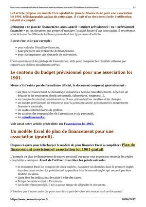 Calameo Plan De Financement Budget Previsionnel Association 1901 Modele Excel Gratuit Exemple
