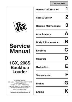 Calam O JCB 1CX BACKHOE LOADER Service Repair Manual SN
