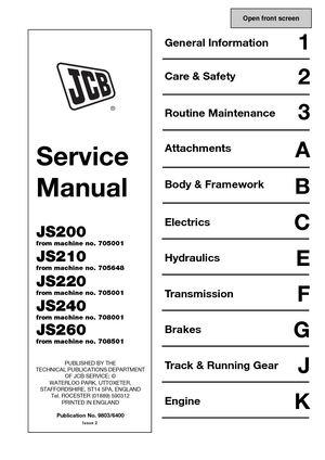 Calaméo - JCB JS220 TRACKED EXCAVATOR Service Repair Manual
