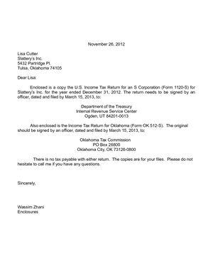 Wassim Zhani Corporate Taxation 1120S Cover Letter