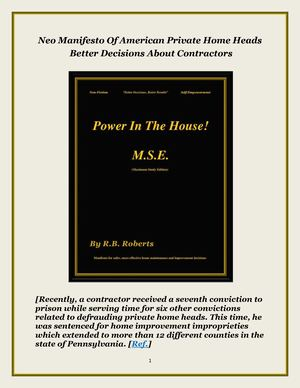 Power In The House! M.S.E. Neo Manifesto On Home Priorities