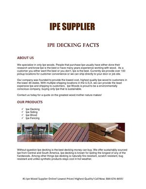 Ipe Decking Facts