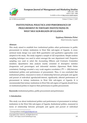 INSTITUTIONAL POLITICS AND PERFORMANCE OF PROCUREMENT IN TERTIARY INSTITUTIONS IN  WEST NILE SUB-REGION OF UGANDA
