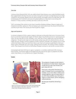 Coronary Artery Disease Cad And Coronary Heart Disease Chd