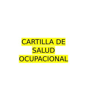 Cartilla De Salud Ocupacional