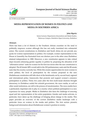 MEDIA REPRESENTATION OF WOMEN IN POLITICS AND  MEDIA IN SOUTHERN AFRICA