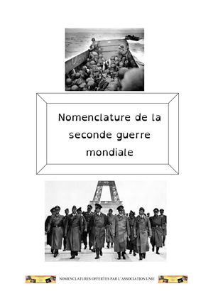 Nomenclature Seconde Guerre Mondiale