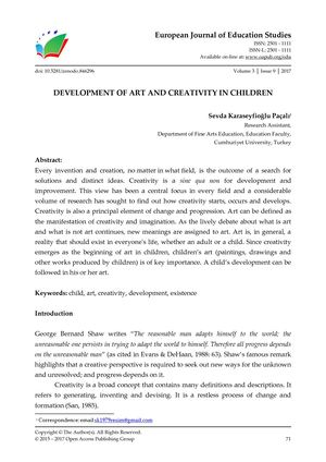 DEVELOPMENT OF ART AND CREATIVITY IN CHILDREN