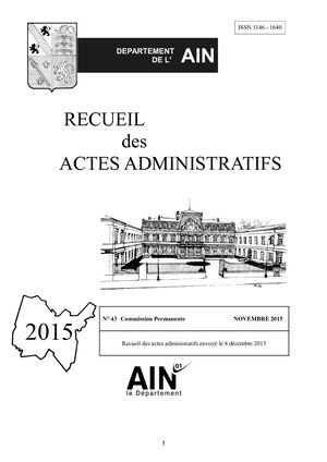 Recueil 43 Commission permanente du 12 Novembre 2015
