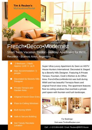 French•Decco•Modernist - Short Term Vacation Rental - Holiday Apartment for Rent Recoleta - Buenos Aires, Argentina