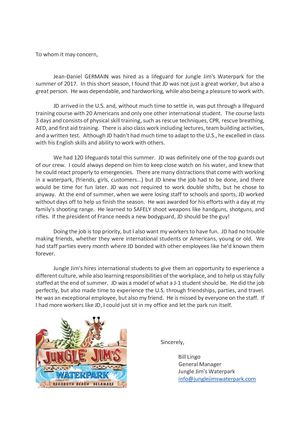 Jungle Jim's - ​Recommendation letter