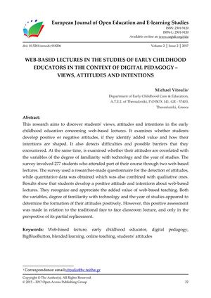 WEB-BASED LECTURES IN THE STUDIES OF EARLY CHILDHOOD EDUCATORS IN THE CONTEXT OF DIGITAL PEDAGOGY –  VIEWS, ATTITUDES AND INTENTIONS