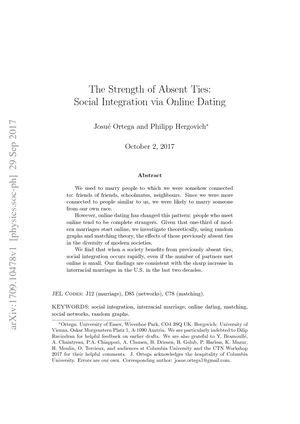 the strength of absent ties social integration via online dating