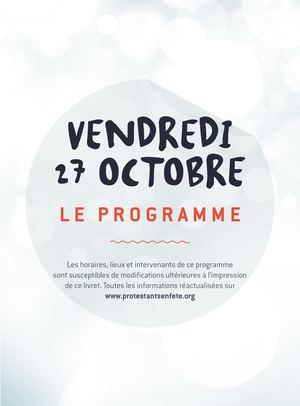 Programme des animations Protestants en Fête vendredi 27 octobre