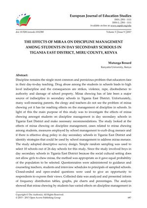THE EFFECTS OF MIRAA ON DISCIPLINE MANAGEMENT  AMONG STUDENTS IN DAY SECONDARY SCHOOLS IN  TIGANIA EAST DISTRICT, MERU COUNTY, KENYA