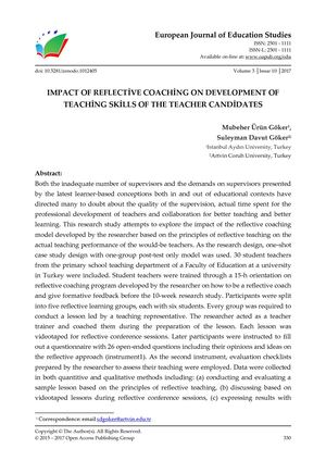 IMPACT OF REFLECTİVE COACHİNG ON DEVELOPMENT OF TEACHİNG SKİLLS OF THE TEACHER CANDİDATES