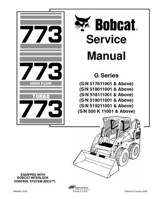 Calaméo - BOBCAT 773 SKID STEER LOADER Service Repair Manual SN 500