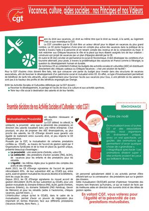 Tract Vacances, Culture, Aides Sociales , Nos Principes Et Nos Valeurs
