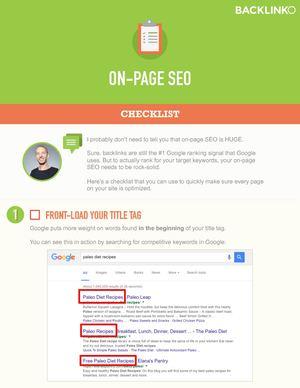 Calaméo - On Page Seo Checklist Backlinko