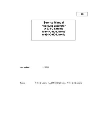 liebherr a 944 c litronic hydraulic excavator service repair manual sn29225  and up