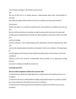 unit 3 health and social care