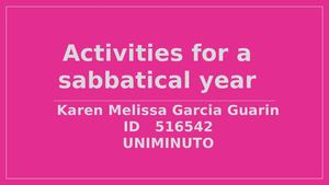 A sabbatical year made by Melissa