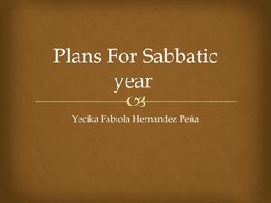 Plans For Sabbatic Year