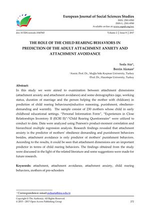 THE ROLE OF THE CHILD REARING BEHAVIORS IN  PREDICTION OF THE ADULT ATTACHMENT ANXIETY AND ATTACHMENT AVOIDANCE