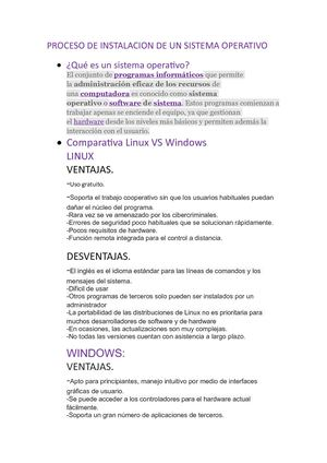 Comparativa Windows Y Linux