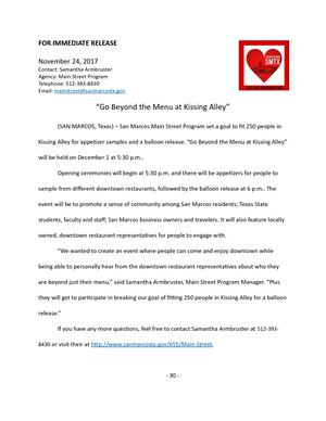 Kissing Alley Press Release