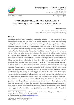 EVALUATION OF TEACHERS' OPINIONS RELATING  IMPROVING QUALIFICATION IN TEACHING PROCESS
