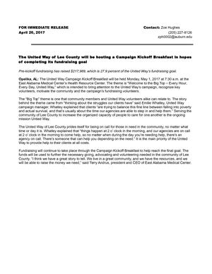 United Way News Release