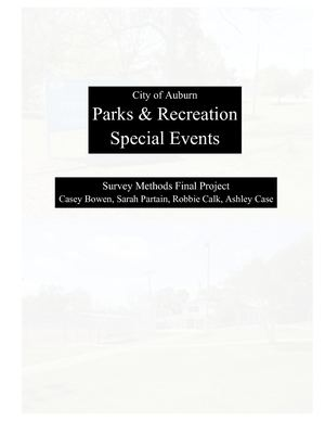 Survey Research Auburn Parks and Recreation