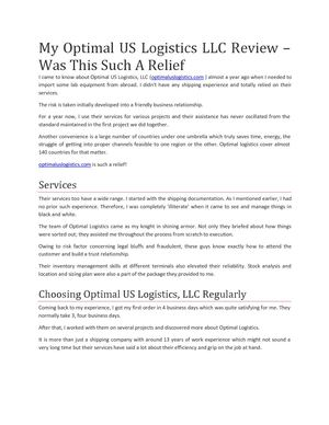 My Optimal US Logistics LLC Review – Was This Such A Relief