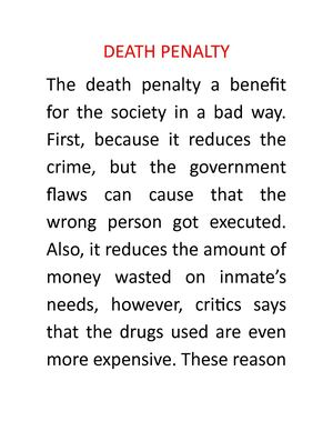 Calamo  Death Penalty Essay Death Penalty Essay