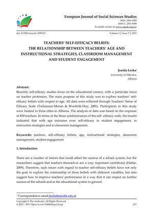 Calaméo - TEACHERS' SELF-EFFICACY BELIEFS: THE RELATIONSHIP
